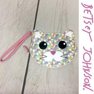 Betsey Johnson Confetti Cat Wristlet Coin Purse